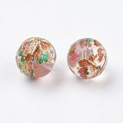 Fleur photo perles de verre imprimé, rond, chardon, 8x7mm, Trou: 1mm(GLAA-E399-8mm-B06)
