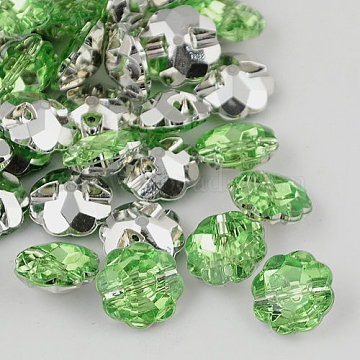 Taiwan Acrylic Rhinestone Buttons, Faceted, 1-Hole, Flower, Light Green, 13x6mm, Hole: 1mm(BUTT-F021-13mm-34)