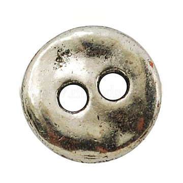 Lead Free Antique Silver Tibetan Style Flat Round Buttons, 13x2mm, Hole: 2.5mm(X-TIBE-R178-AS-LF)