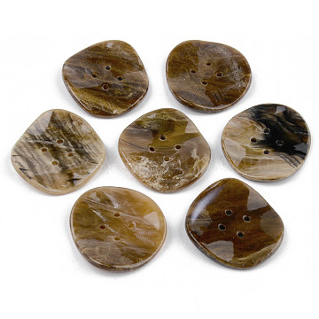 4-Hole Cellulose Acetate(Resin) Buttons, Flat Round, Dark Khaki, 34.5x32x4mm, Hole: 2mm(BUTT-S026-017B-01)