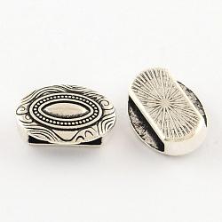 Breloques coulissantes ovales de style tibétain en alliage, sans cadmium et sans plomb, argent antique, 11.5x15.5x5.5mm, trou: 11x3 mm; environ 571 pcs / 1000 g(TIBEB-Q064-41AS-NR)