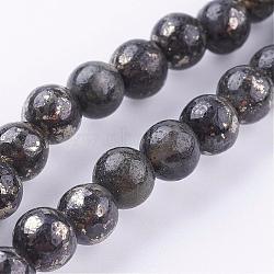 Chapelets de perles de pyrite naturelle , rond, 6mm, trou: 1mm; environ 33 pcs/chapelet, 8''(G-P303-01-6mm-8)