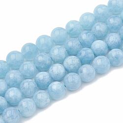 """Chapelets de perles en aigue-marine naturelle, teint, rond, 8~9mm, trou: 1mm; environ 45~48 pcs/chapelet, 15.7""""(G-S333-8mm-004)"""