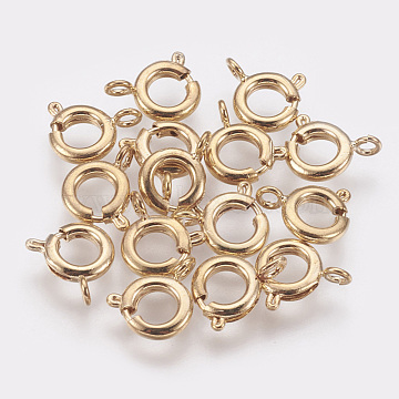 Brass Spring Ring Clasps, DIY Jewelry Fastener Hook, Nickel Free, Real 18K Gold Plated, 10x7x2mm, Hole: 1.5mm(X-KK-Q669-33G)