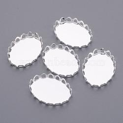 Couleur argent laiton ovale supports lunette pour cabochon, accessoires de bricolage pour création de pendentif , sans plomb et sans cadmium, Plateau: 13x18mm; environ 14 mm de large, Longueur 19mm(X-KK-C2896A-S)