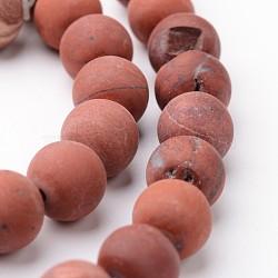 """Chapelets de perles rondes en jaspe rouge mat naturel, 8mm, trou: 1mm; environ 47~48 pcs/chapelet, 15""""(G-J346-22-8mm)"""