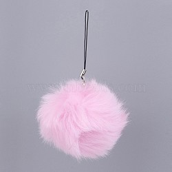 Pom Pom Ball Mobile Straps, with Fake Rabbit Hair, PearlPink, 115mm(MOBA-G065-A01)