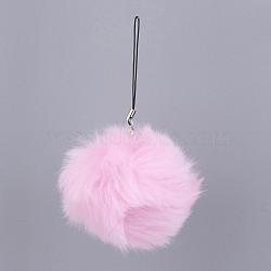 Pom pom ball мобильные ремни, с поддельными волосами кролика, жемчужно-розовые, 115 мм(MOBA-G065-A01)