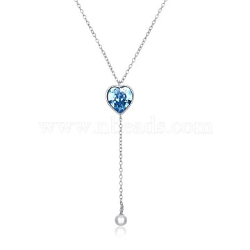 Trendy 925 Sterling Silver Pendant Necklace, Heart with Austrian Crystal, Platinum, 206_Sapphire, 17.7inches(45cm)(NJEW-BB30732)