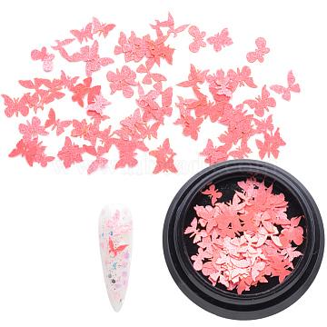 Paper Cabochons, Nail Art Decorations, Lifelike Butterfly, Light Coral, 3~5x4~7x0.1mm, about 100pcs/box(MRMJ-Q072-22B)