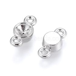 ccb en plastique connecteur paramètres strass, pour strass dos pointu, plat rond, platine, s'adapter pour 4 mm strass; 13x6x3 mm, trou: 2 mm(CCB-K003-53P)