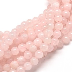 Natural Rose Quartz Round Bead Strands, 4mm, Hole: 1mm; about 90pcs/strand, 15inches