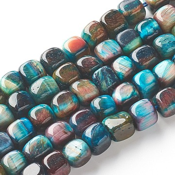 Natural Tiger Eye Beads Strands, Dyed, Cube, Teal, 7~8x7~8x7~8mm, Hole: 0.8mm; about 52pcs/strand, 15.16 inches(38.5cm)(X-G-G810-05)