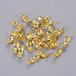 Couvre nœud de bouts de perle en laiton, or, 8x4mm, trou: 1.5 mm; diamètre intérieur: 3 mm; environ 1053 pcs / 50 g(X-E037Y-G)