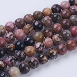Chapelets de perles en rhodonite naturelle, rond, 6~6.5mm, trou: 1mm; environ 64 pcs/chapelet, 15.3'' (39 cm)(G-P318-04-6mm)