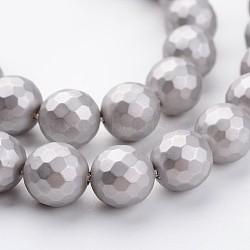 """Chapelets de perles en coquille, mat, facette, rond, gris clair, 8mm, trou: 1mm; environ 48 pcs/chapelet, 15.7""""(X-BSHE-J016-8mm-09)"""