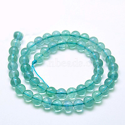 "Naturelles fluorite bleue brins de perles, Grade a, rond, 6mm, trou: 1mm; environ 57 pcs/chapelet, 15.5""(G-E112-6mm-2)"