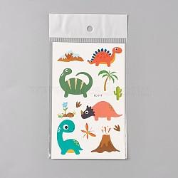 Faux tatouages temporaires amovibles, imperméable, autocollants papier de dessin animé, dinosaure, colorées, 120~121.5x75mm(AJEW-WH0061-B12)