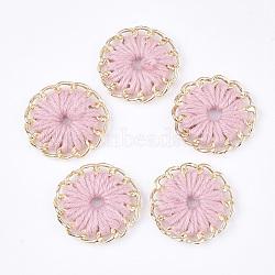 тканые подвески из ниток, сплава с выводами, плоские круглые, золотой, розовый, 27~27.5x3~4 mm, отверстия: 3~5 mm(FIND-S306-11F)