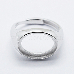 925 Sterling Silver Finger Ring Components, Adjustable, Oval, Platinum, Size 8 (18mm); 3mm wide, Tray: 12x16mm(STER-G027-12P)