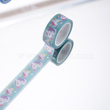 DIY Scrapbook Decorative Adhesive Tapes, Unicorn, Green, 15mm, 5m/roll(5.46yards/roll)(DIY-F016-P-04)