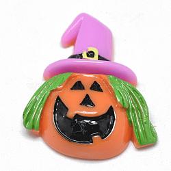 Resin Cabochons, Halloween Pumpkin, Coral, 29x25x7.5mm