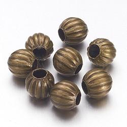 6 mm plaqué bronze antique fer rond ondulé séparateurs perles, sans nickel, 6 mm de diamètre, Trou: 2mm(X-E185Y-NFAB)