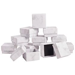 Paper Cardboard Jewelry Ring Boxes, Square, White, 5.2x5.2x3.3cm(CBOX-E012-05A)