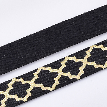 Flat Elastic Cord, with Flower Pattern, Black, 15~16x1mm, about 3.28 yards(3m)/roll(EC-T001-05A)