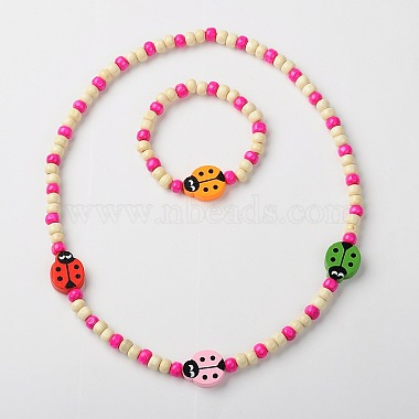 Stretchy Wood Jewelry Sets: Necklaces & Bracelets for Kids(SJEW-JS00669)-2