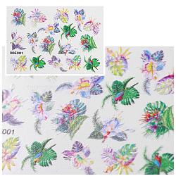 5d décalcomanies autocollants de transfert d'eau en relief art stéréoscopique, feuille, colorées, 7.1x5.2 cm(MRMJ-S008-086A)