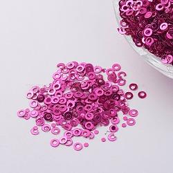 ornement accessoires plastique paillette / paillettes perles, anneau, rose foncé, 2x0.1 mm, trou: 0.8 mm(PVC-E001-06-YD01)