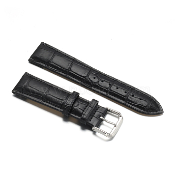 Leather Watch Bands, with 304 Stainless Steel Clasps, Black, 90~120x22x4~5mm(WACH-F017-02D)