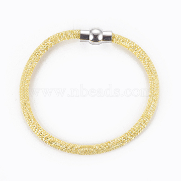 Brass Mesh Chain Bracelets, with Brass Magnetic Clasps, Yellow, 8 inches~8-1/8 inches(20.4~20.7cm) ; 5mm(BJEW-F372-01B)