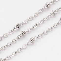 304 chaînes de câbles en acier inoxydable, chaînes satellites, soudé, avec bobine, perles de rondelle, couleur inox, 1.5 mm; sur 10 m / rouleau(CHS-H007-08P)