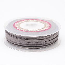 Faux Suede Cord, Faux Suede Lace, Gray, 3x1.5mm, about 5m/roll(LW-D009-01)