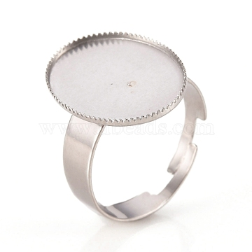 Adjustable 304 Stainless Steel Finger Rings Components, Serrated Edge Bezel Cups, Oval, Stainless Steel Color, Size 7, 17mm; Tray: 18.5x13.5mm(STAS-I137-12P)