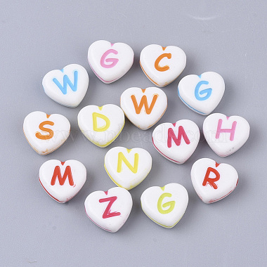 11mm Mixed Color Heart Acrylic Beads
