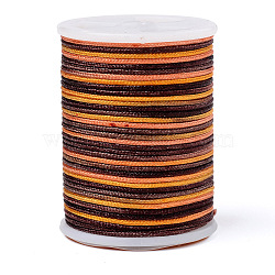 Segment Dyed Polyester Thread, Braided Cord, Colorful, 0.7mm; about 7m/roll(NWIR-I013-B-07)
