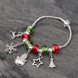 Verre en laiton perles perles bracelets européens, avec les accessoires en alliage, pour noël, platine, 210x3mm(BJEW-JB02318)