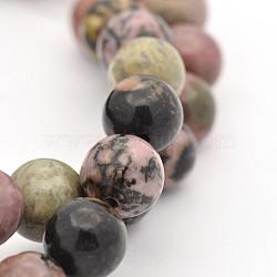 """Rondes rhodonite naturelle perles brins, 8mm, trou: 1mm; environ 47 pcs/chapelet, 15.5""""(G-M136-8mm)"""