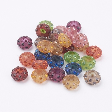 Resin Rhinestone European Beads, Large Hole Beads, Rondelle, Mixed Color, 13x7mm, Hole: 6mm(OPDL-J002-M)