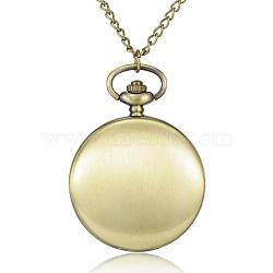 """Rondes alliage quartz montres de poche plats, avec des chaînes de fer et claspss pince de homard, bronze antique, 31.4""""; cadran montre: 57x41x13 mm; boitier montre: 32 mm(WACH-N039-04AB-B)"""