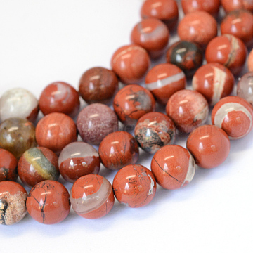 Natural Red Jasper Round Bead Strands, 8~8.5mm, Hole: 1mm, about 47pcs/strand, 15.5 inches(X-G-E334-8mm-27)