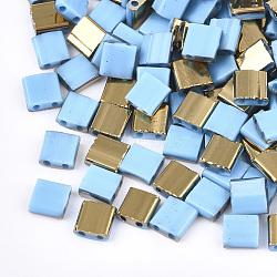 Déposer des perles de rocaille en verre opaque, 2-trou, rectangle, Bleu ciel, 5x4.5~5.5x2~2.5mm, Trou: 0.5~0.8mm(SEED-S023-18C-03C)