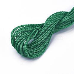 cordon de polyester ciré, vert, 1 mm; sur 8.96~9 m / rouleau(YC-WH0005-08)