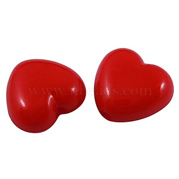 Red Heart Acrylic Beads, Great for Mother's Day Gifts Making, Size: about 10mm long, 11mm wide, 6mm thick, hole: 2mm(X-SACR-10X11-12)