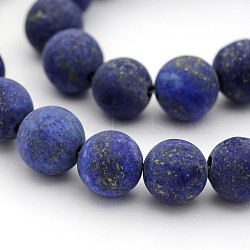 Dyed Frosted Natural Lapis Lazuli Round Bead Strands, 8mm, Hole: 1mm; about 24pcs/strand, 7.5
