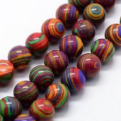 """Chapelets de perles en malachite synthétique, teint, rond, colorées, 8mm, trou: 1mm; environ 46 pcs/chapelet, 14.76"""" (37.5 cm)(X-G-I199-32-8mm-C)"""