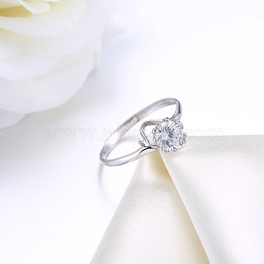 Adjustable 925 Sterling Silver Cubic Zirconia Finger Rings(RJEW-BB20783-6)-3
